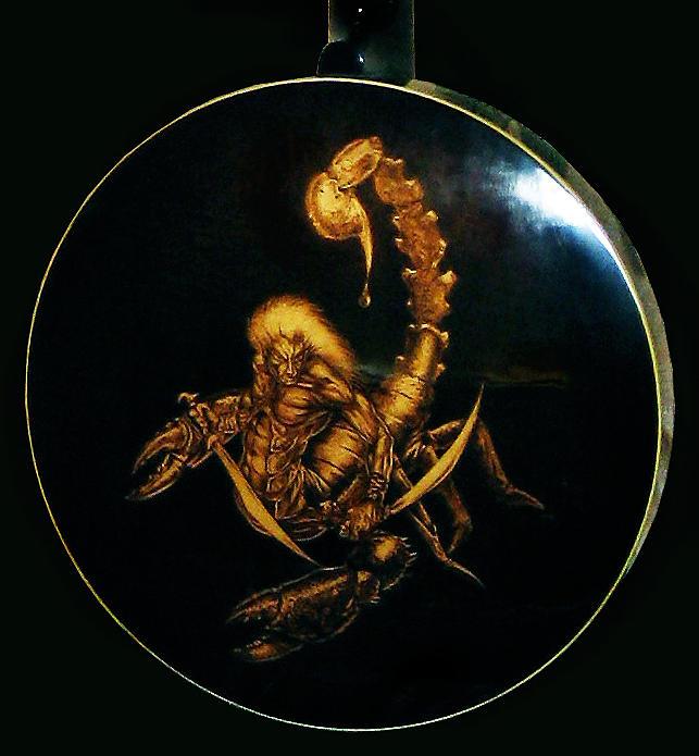 Realistic Pyrography - Custom Scorpion Banjo Resonator by Dino Muradian