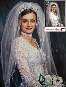 Oil Painting Painting - Custom Wedding Bride Oil Painting Based On Your Photo by Les Moments