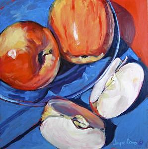 Oils Painting - Cut Apples And Glass Plate -- Sold by Jayne Rose