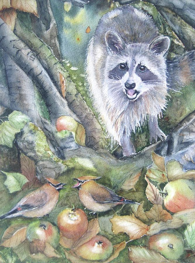 Raccoon Painting - Cut It Out by Patricia Pushaw