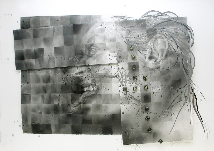 Self-portrait Mixed Media - Cut Off Her Nose by MJ Seltzer