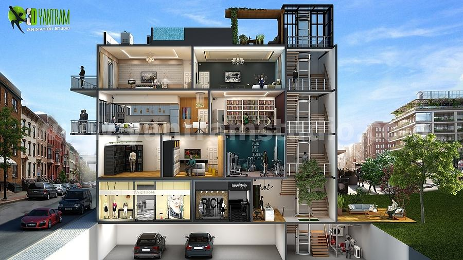House Digital Art   Cut Section Design Of Multi Family Home By Yantram  Architectural Plan Rendering