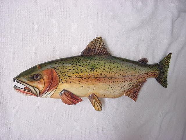 Trout Relief - Cut Throat Trout Number Two Wooden Fish Relief by Lisa Ruggiero