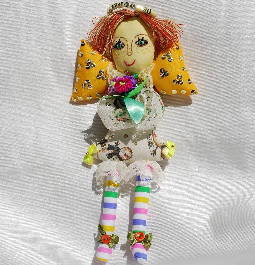 Doll Tapestry - Textile - Cute Angel Of Christmas by Tamara Konovalova