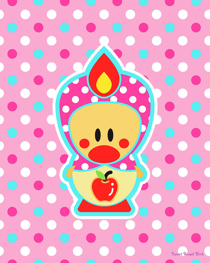 Bird Digital Art - Cute Art - Sweet Angel Bird Apple Matryoshka Pink Polka Dot Wall Art Print by Olga Davydova