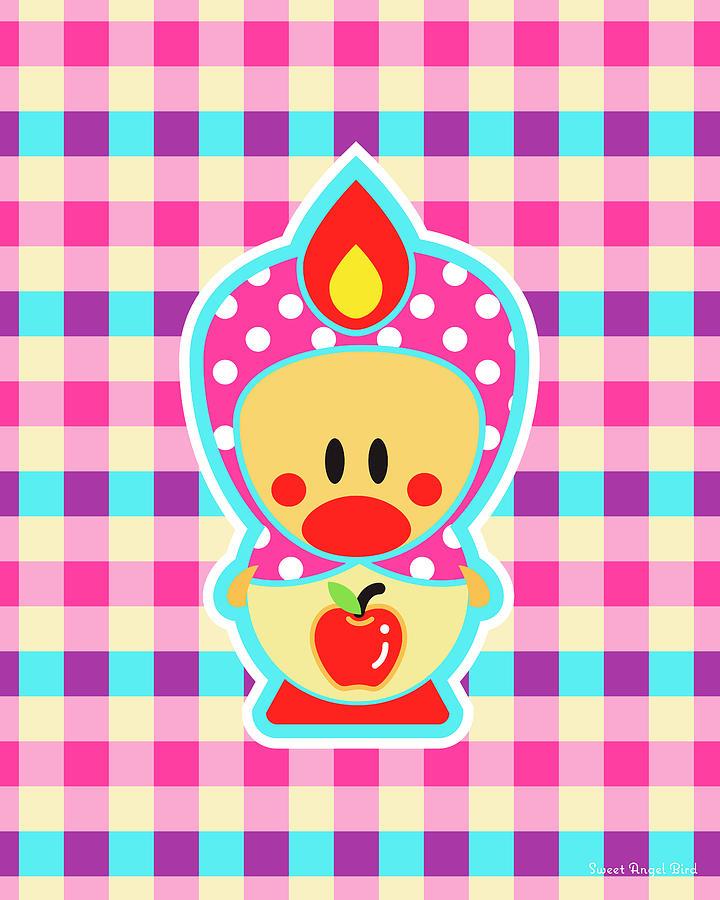 Bird Digital Art - Cute Art - Sweet Angel Bird Apple Matryoshka Plaid Wall Art Print by Olga Davydova
