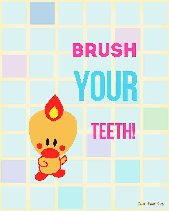 Bird Digital Art - Cute Art - Sweet Angel Bird Brush Your Teeth Bathroom Wall Art Print by Olga Davydova