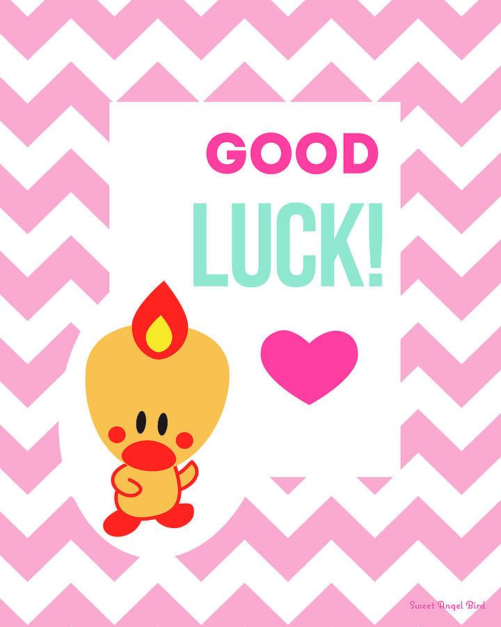 Bird Digital Art - Cute Art - Sweet Angel Bird Cotton Candy Pink Good Luck Chevron Wall Art Print by Olga Davydova