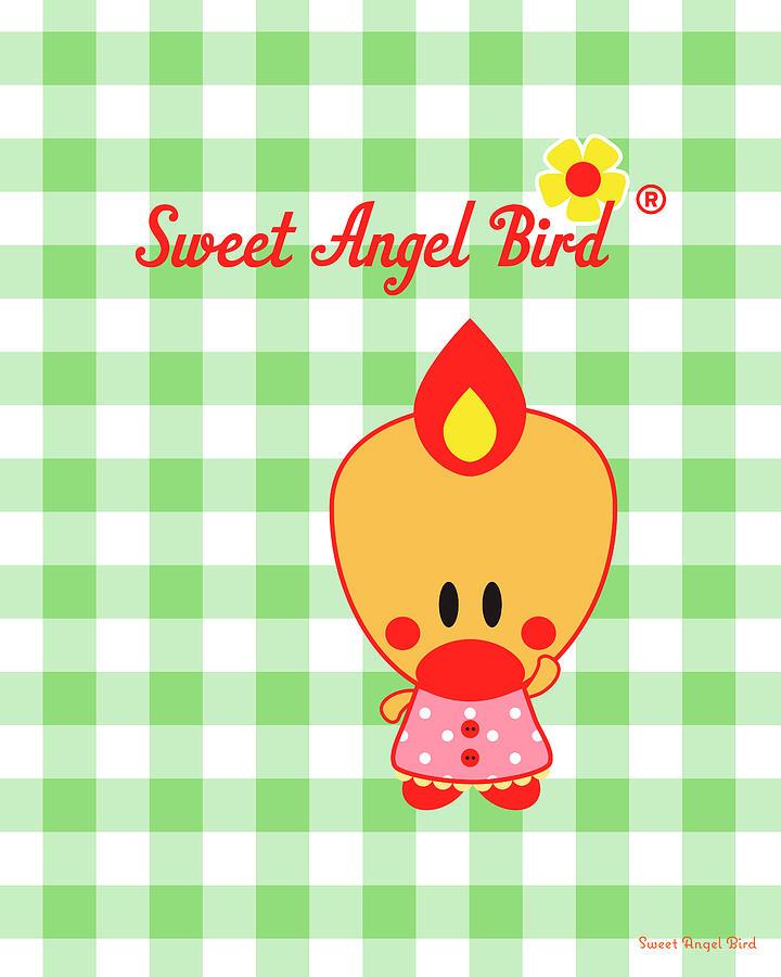 Bird Digital Art - Cute Art - Sweet Angel Bird Gingham Print by Olga Davydova