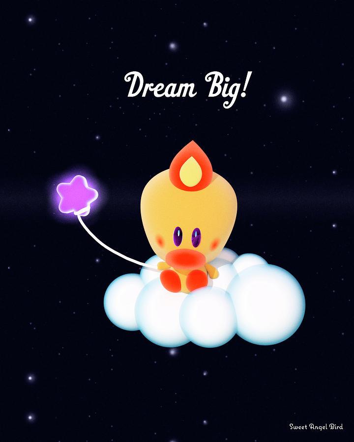 Bird Digital Art - Cute Art - Sweet Angel Bird Holding A Star Balloon Sitting On A Cloud In A Starry Sky Dream Big Wall Art Print by Olga Davydova