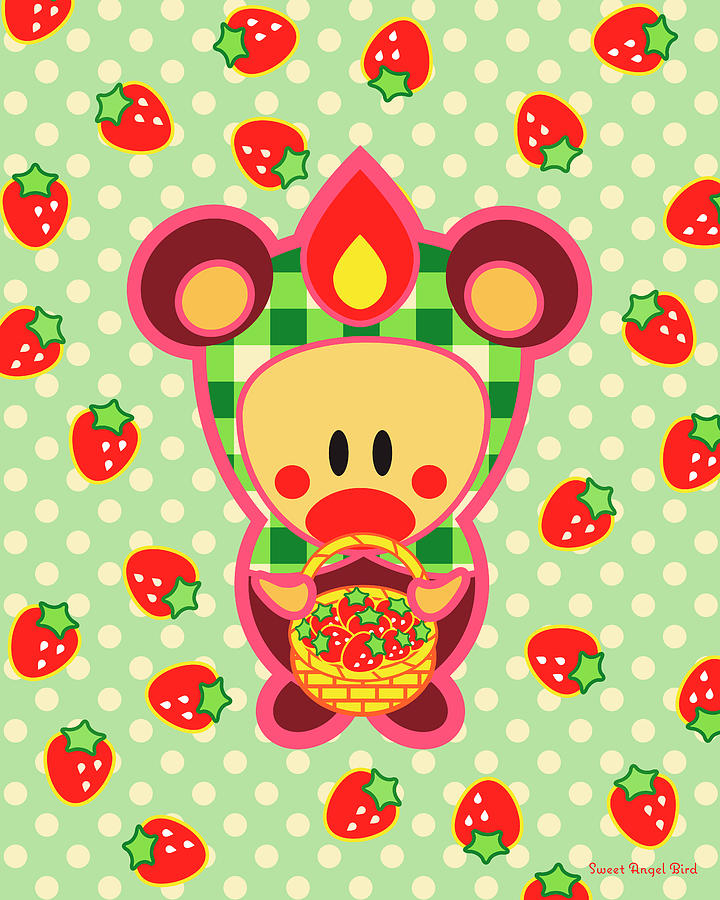 Woodland Digital Art - Cute Art - Sweet Angel Bird in a Bear Costume Holding a Basket of Strawberries Wall Art Print by Olga Davydova