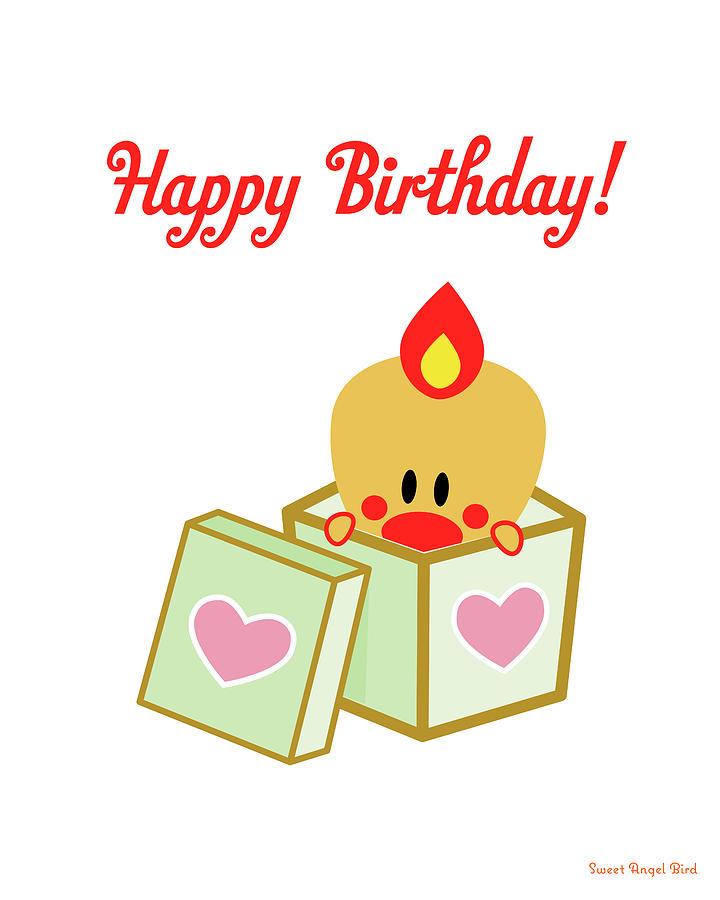 Cute Art - Sweet Angel Bird Heart Gift Box Birthday Sign, Wall Art ...