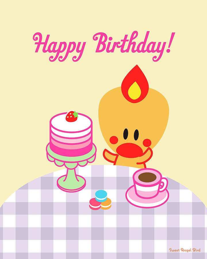 Bird Digital Art - Cute Art - Sweet Angel Bird Macarons and Ombre Cake Print Happy Birthday Wall Art by Olga Davydova