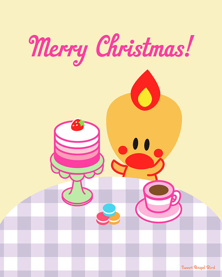 Cute Art - Sweet Angel Bird Macarons And Ombre Cake Print Merry ...
