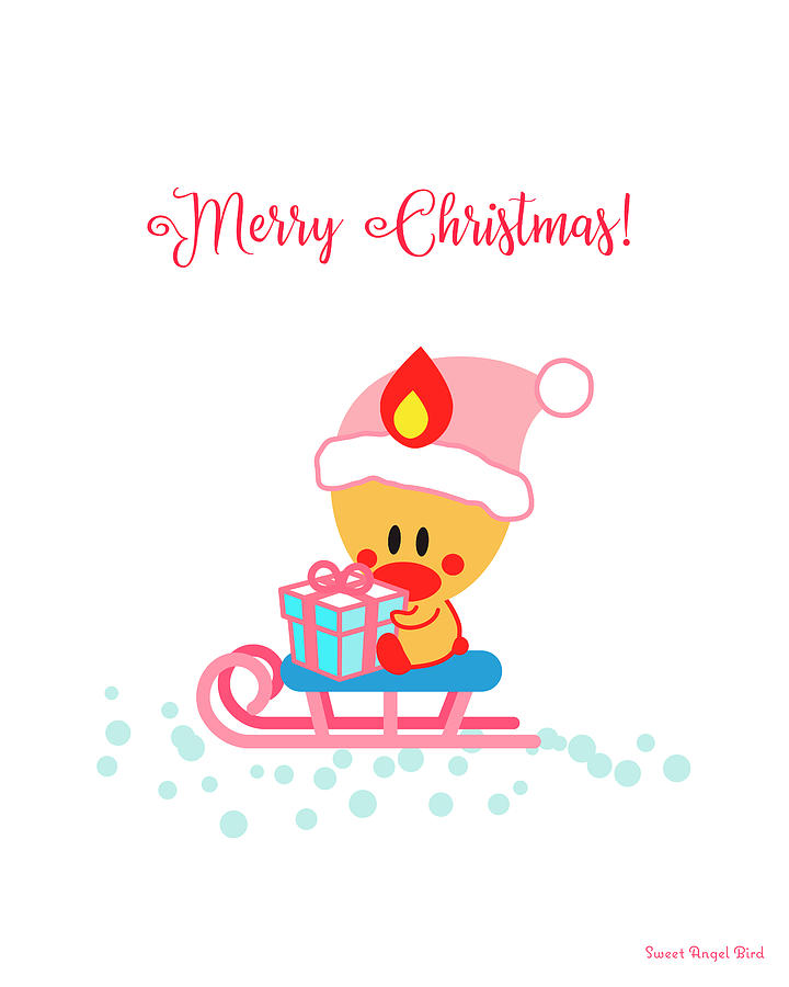 Cute Art - Sweet Angel Bird Sitting On A Sled Christmas Art by Olga Davydova
