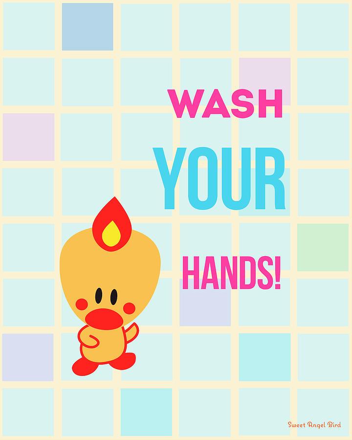 Bird Digital Art - Cute Art - Sweet Angel Bird Wash Your Hands Bathroom Wall Art Print by Olga Davydova