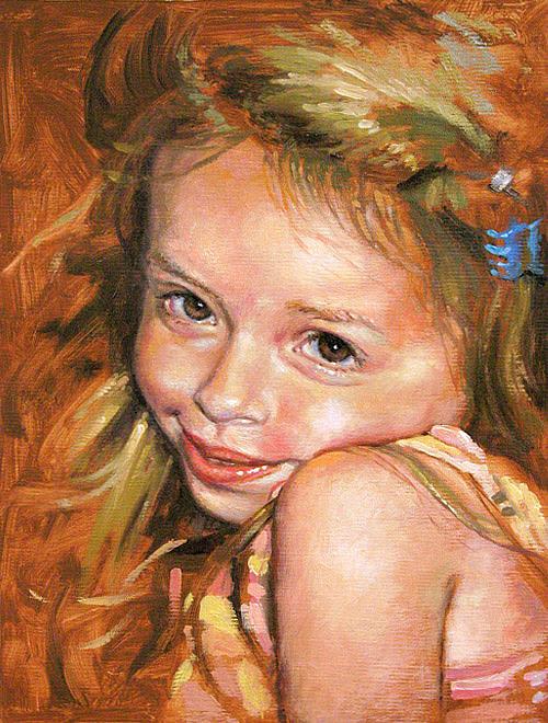Portrait Painting - Cute As A Bug by Larry Seiler