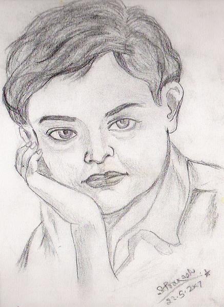 Cute Baby Boy Drawing by SP Singh