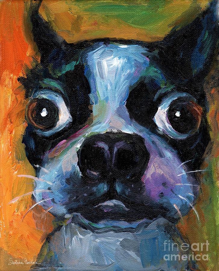 Painting Painting - Cute Boston Terrier Puppy Art by Svetlana Novikova