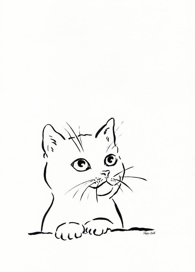 Cute Cat Pen And Ink Drawing Drawing By Karen Kaspar