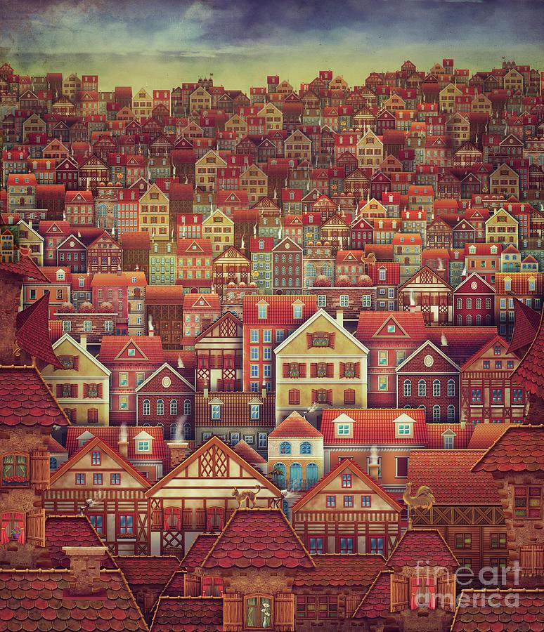 Cute City Street Scene ,many Houses Painting By Natalia Moroz