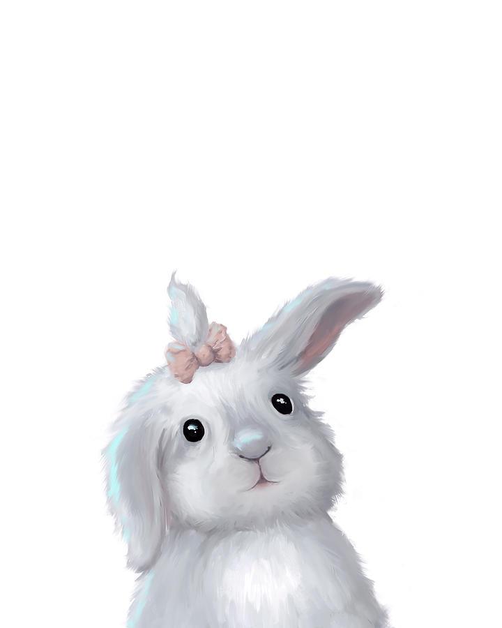 Cute Easter Bunny Rabbit Girl Painting by Oksana Ariskina