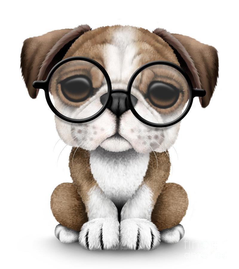 Cute English Bulldog Puppy Wearing Glasses Digital Art By