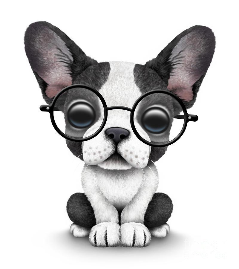 Cute French Bulldog Puppy Wearing Glasses Digital Art By