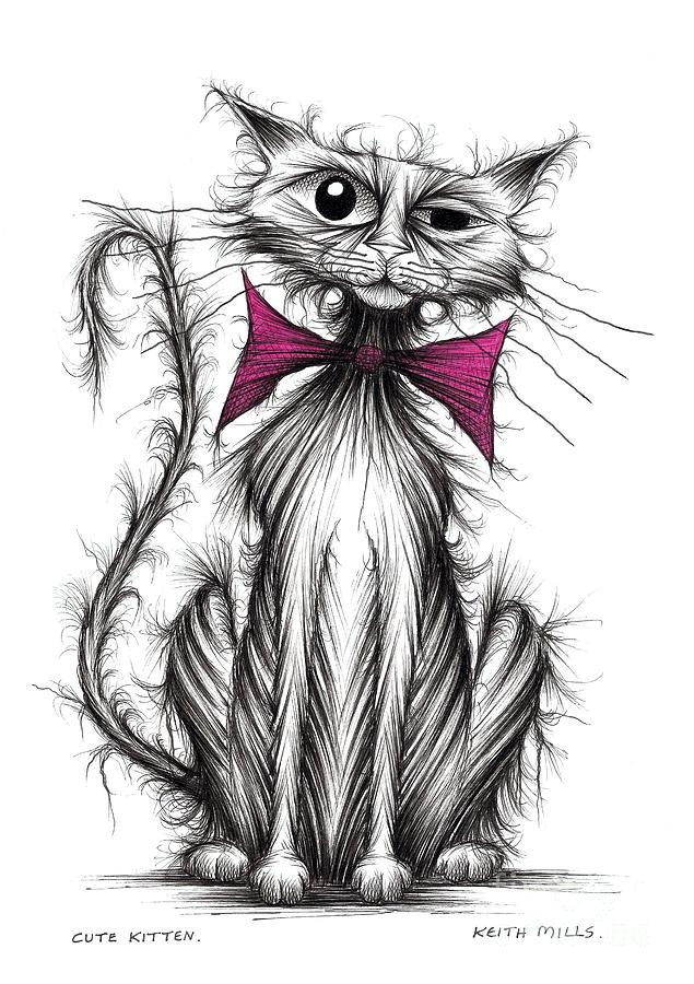 cute kitten drawing by keith mills