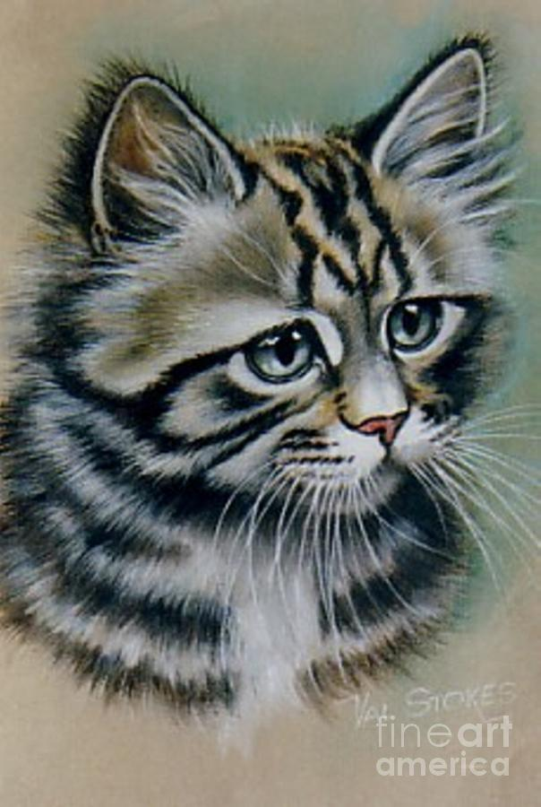 Kitten Painting - Cute Kitten by Val Stokes