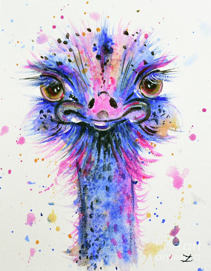 Cute ostrich painting by zaira dzhaubaeva for Cute watercolor paintings