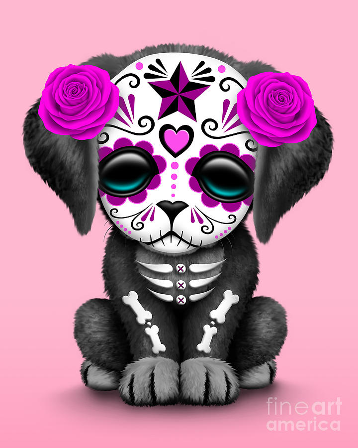 Cute Pink Day Of The Dead Sugar Skull Dog Digital Art By Jeff Bartels