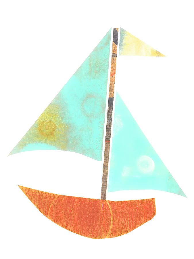 Cute Mixed Media - Cute Sailboat Collage 507 by Carol Leigh