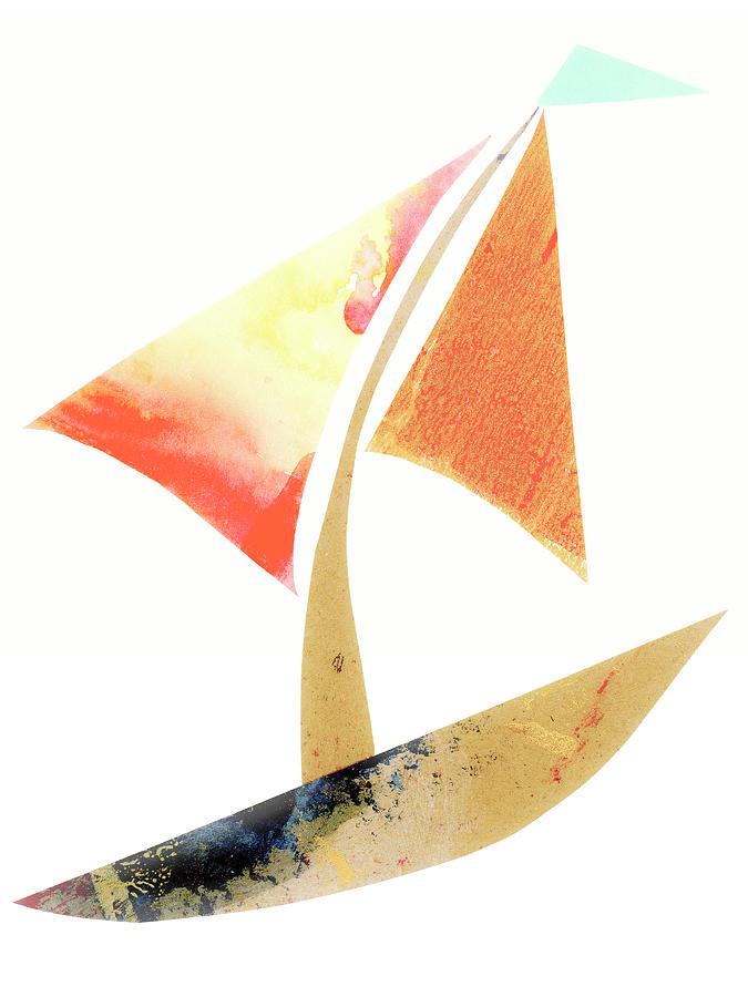 Cute Mixed Media - Cute Sailboat Collage 517 by Carol Leigh