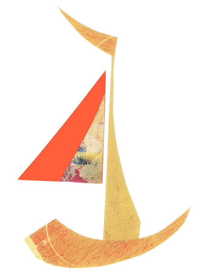 Cute Mixed Media - Cute Sailboat Collage 518 by Carol Leigh
