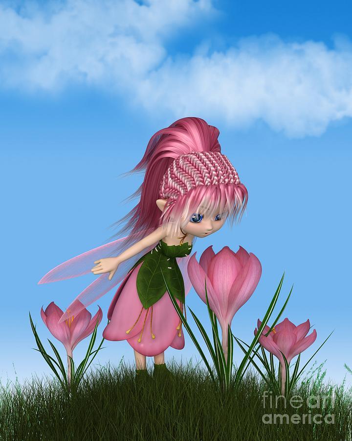 Fairy Digital Art - Cute Toon Pink Crocus Fairy on a Sunny Spring Day by Fairy Fantasies