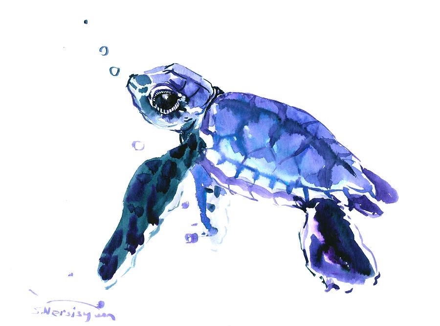 Cute Turtle Painting By Suren Nersisyan