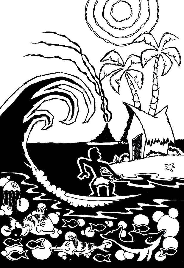 Surfing Digital Art - Cutting Board by Aaron Bodtcher