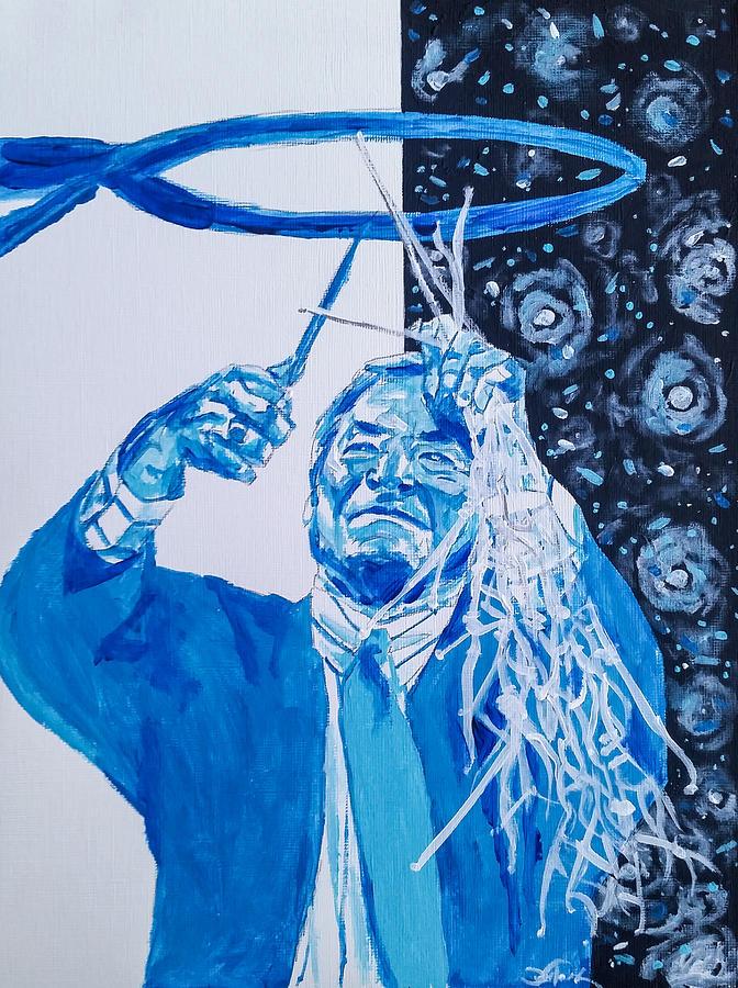 Dean Smith Painting - Cutting Down The Net - Dean Smith by Joel Tesch