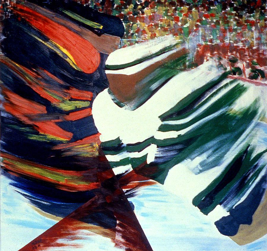 Hockey Painting - Cutting In by Ken Yackel