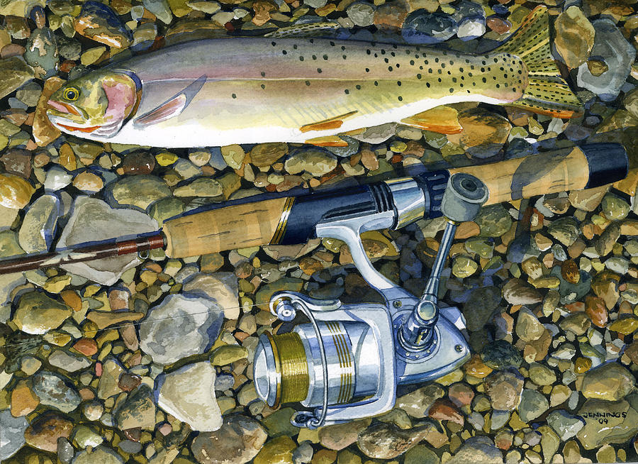 Trout Painting - Cuttmorning by Mark Jennings