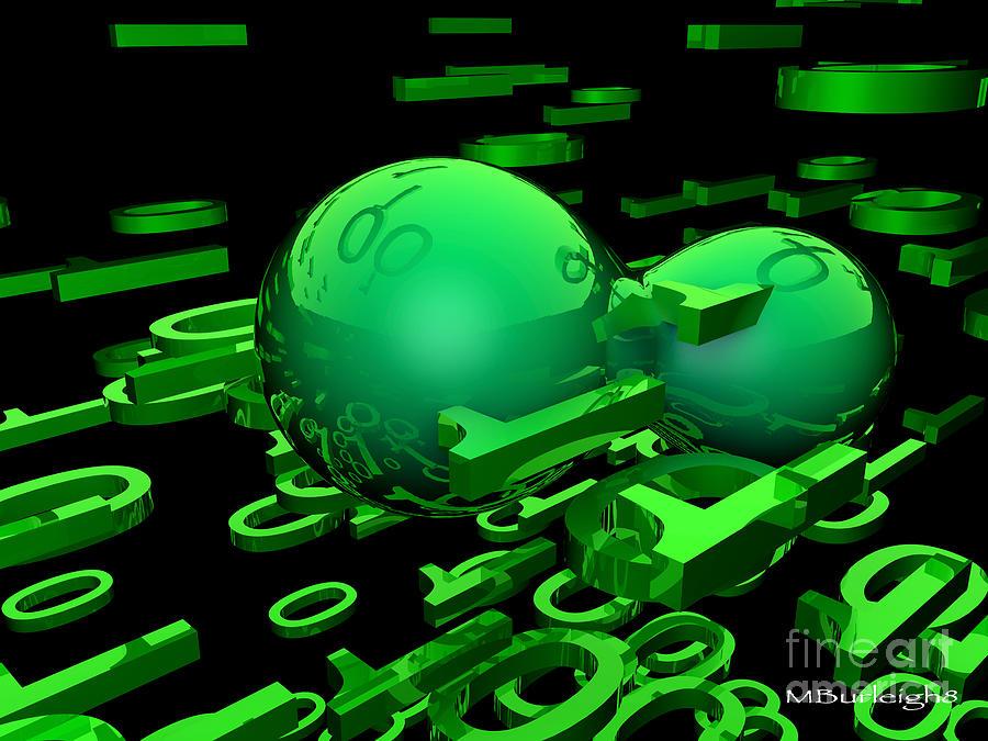Cyber Digital Art - Cyber Virus by Michael Burleigh
