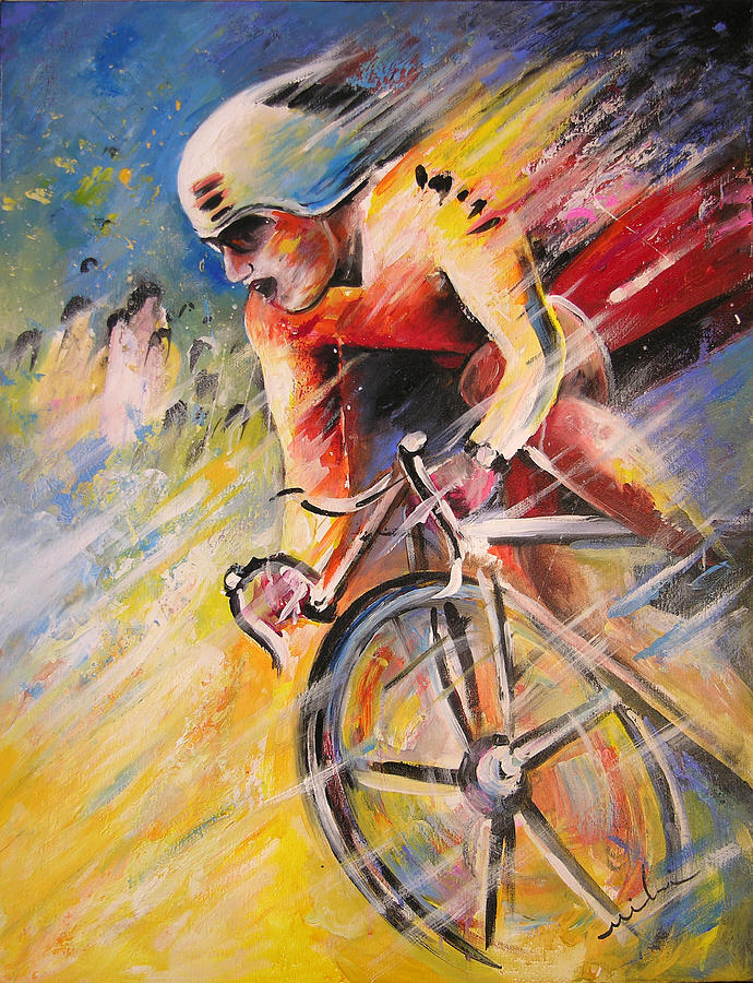 Sports Painting - Cycling by Miki De Goodaboom