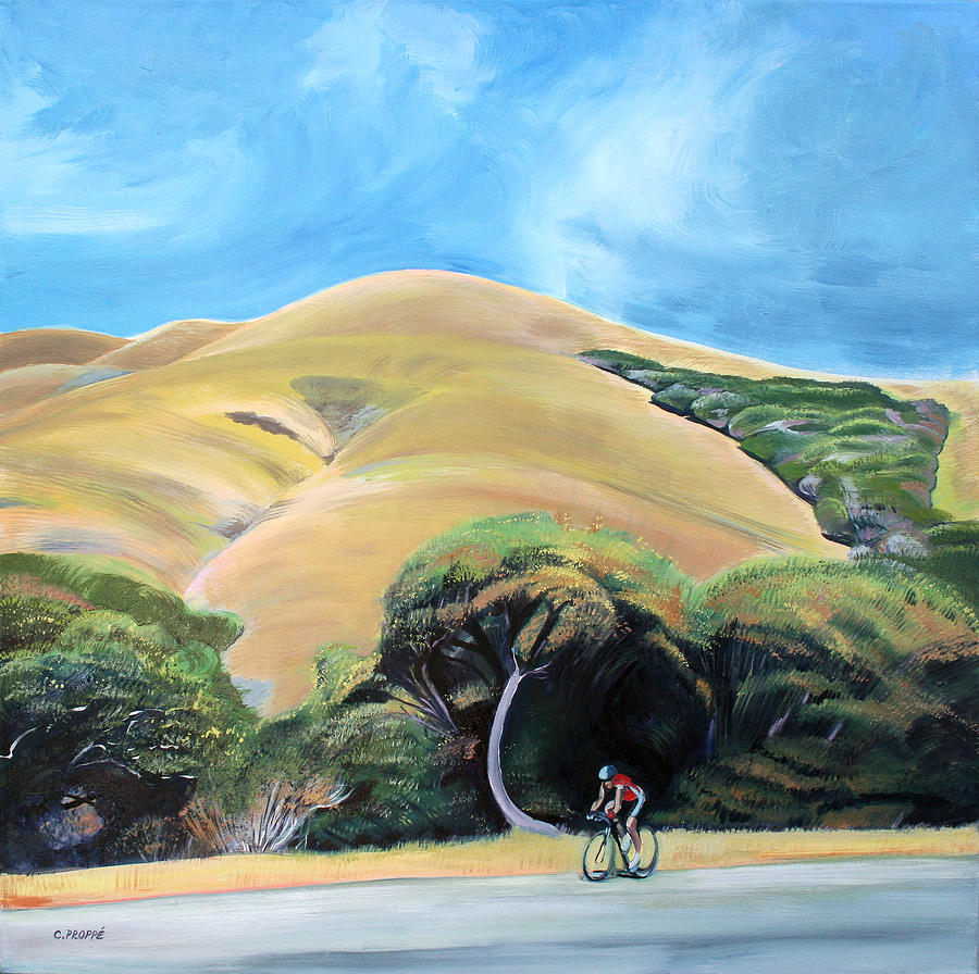 Landscape Painting - Cyclist By Elephant Mountain by Colleen Proppe