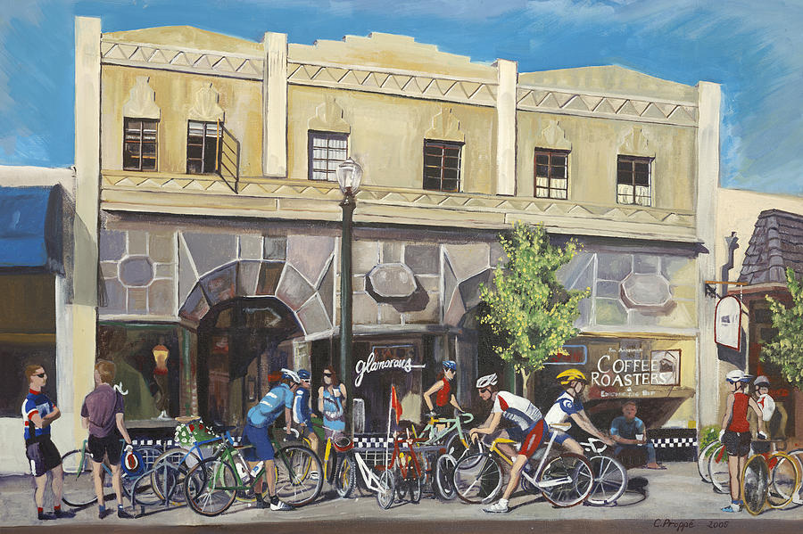 Bikes Painting - Cyclists At The Roasters by Colleen Proppe
