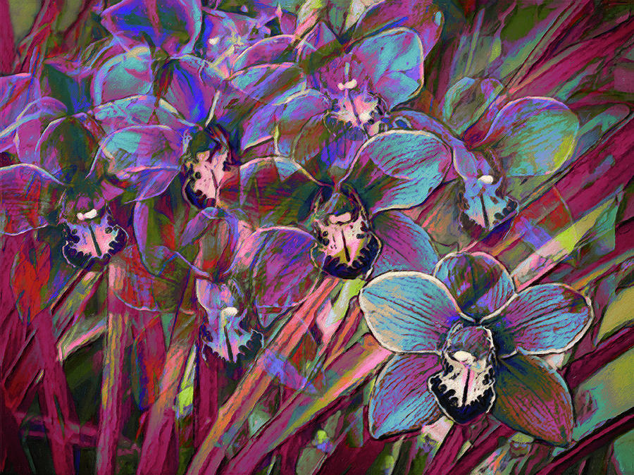 Cymbidium Digital Art - Cymbidium Carnival by Sheryl Karas