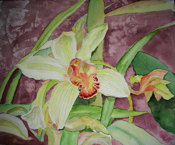 Floral Painting - Cymbidium by Peggy Bergey