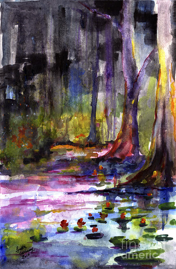 Cypress Gardens South Carolina Watercolor Painting by Ginette Callaway