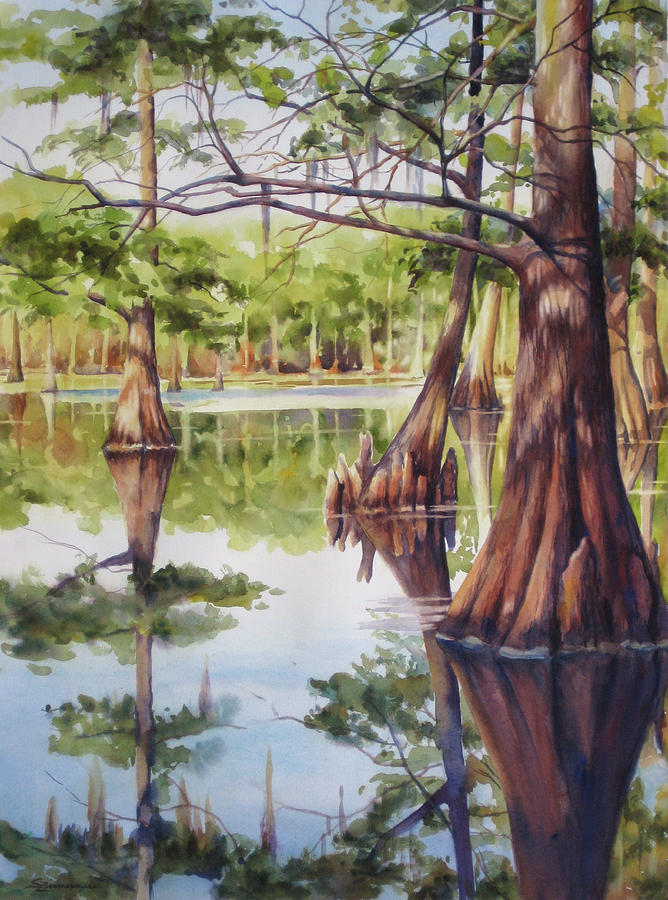 Cypress Tree Painting - Cypress In Lake Chicot by Sue Zimmermann