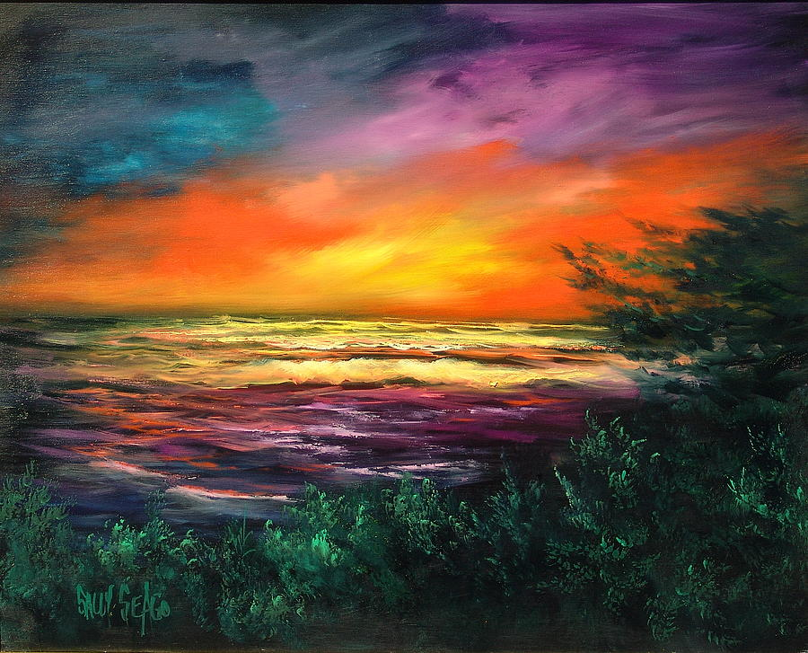 Ocean Painting - Cypress Sunset by Sally Seago